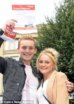 Off on a free holiday: Siblings George and Sophie Salloway managed to grab a pair of return tickets to Prague