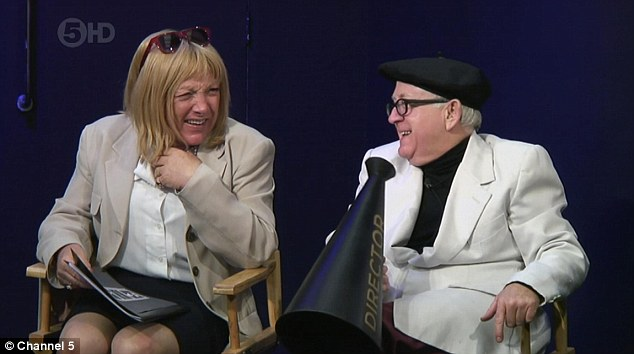 Something funny?: Transgender boxing promoter Kellie Maloney, left, and actor Leslie Jordan were relieved they only had to sit and judge the performances