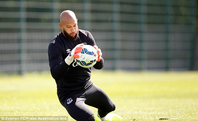 Working hard: The break from international football will allow Howard to focus on his family and Everton