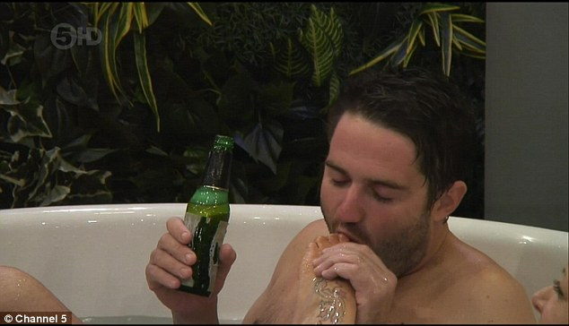 Frisky: Gogglebox's George Gilbey got a mouthful as he sucked Frenchy's toes as they shared a bath