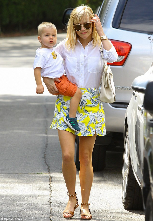 Her little guy: On July 18 Reese was spotted out and about with baby Tennessee in Brentwood, California