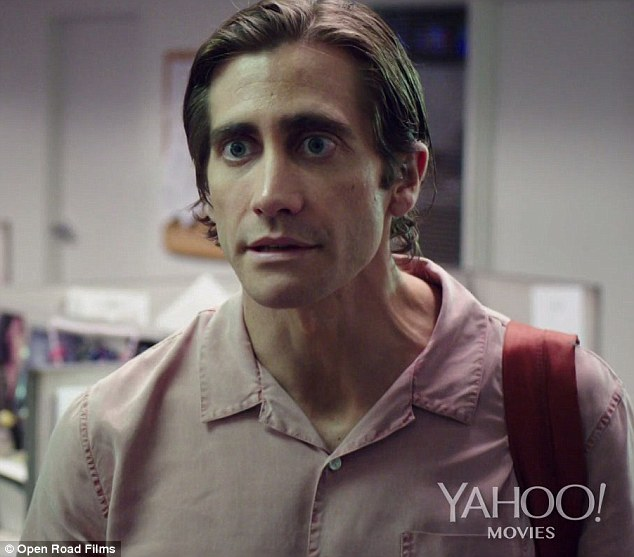 Guerrilla journalist: Jake Gyllenhaal looks wild-eyed and gaunt in the new action-packed Nightcrawler trailer, which premiered online Thursday