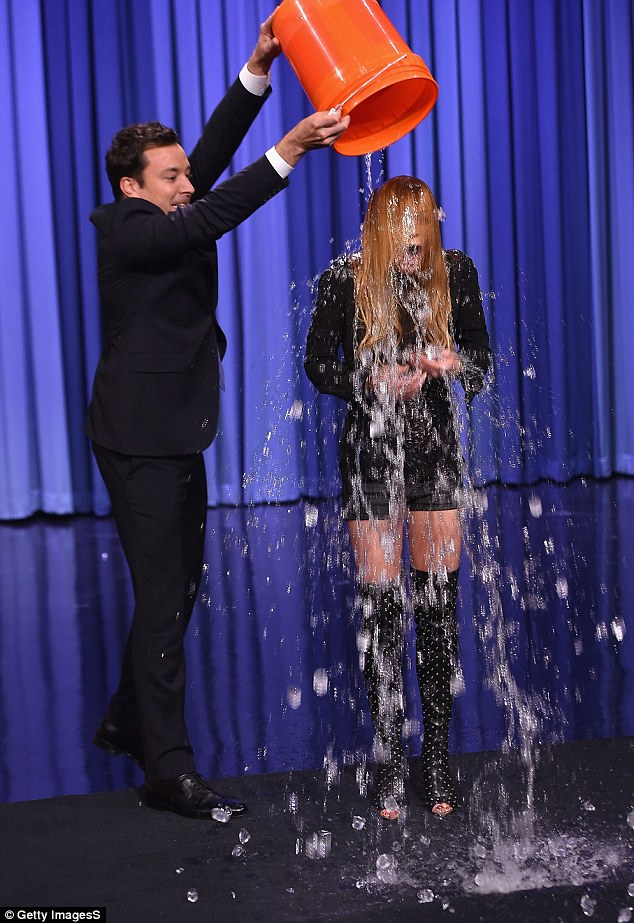 But of course: Lindsay Lohan had her turn under the cold water too when she appeared on The Tonight Show Starring Jimmy Fallon on Wednesday evening
