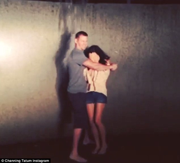Brace yourself baby: Channing Tatum hugs his wife Jenna Dewan-Tatum as the water is poured on them