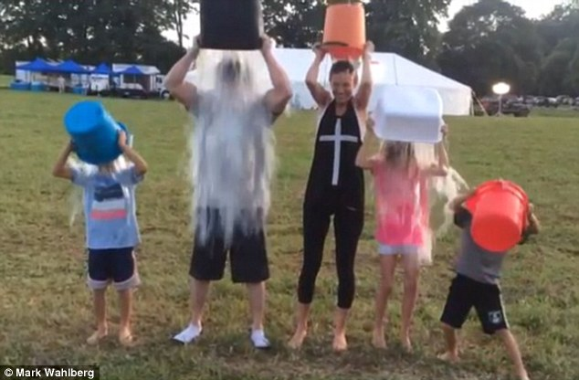 Doing it together! Mark Wahlberg and wife Rhea Durham took part in the ALS Ice Bucket Challenge with their three eldest children Ella, Michael and Brendan