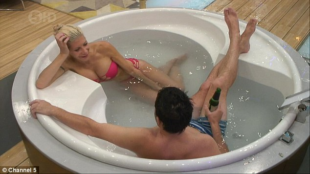 Getting to know each other: Frenchy flirted with George as they shared a bath together