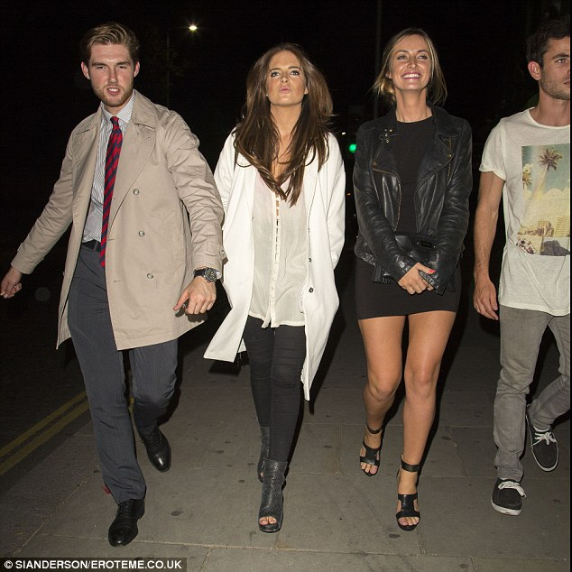 Party time: Made In Chelsea star Binky entered the King's Road venue with a group of pals