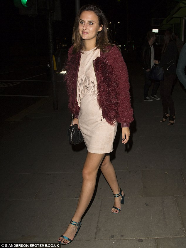 Incoming: Made In Chelsea sparring partner Lucy caught the eye in a fringed minidress and snappy gold heels