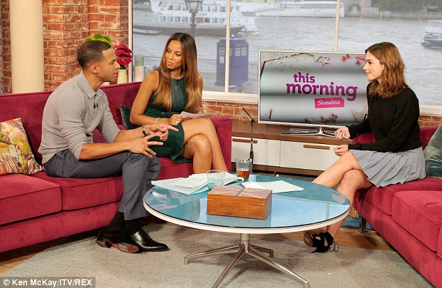 Promotional tour: Jenna joined Marvin and Rochelle Humes for This Morning as the Tardis was visible from the Southbank in the window