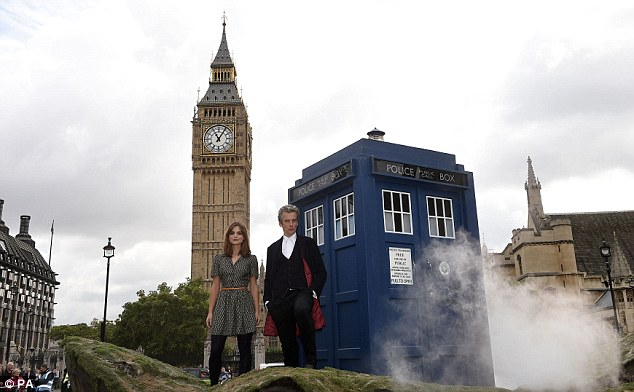 Safe landing: The Tardis materialised in London ahead of the hotly anticipated new series of Doctor Who