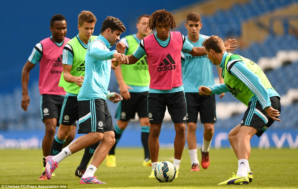 Keep ball: Diego Costa, Nathan Ake, Oscar and Mikel are among the Chelsea players who trained ahead of the game against Leicester