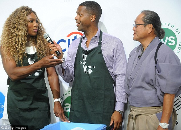 Thanking her coach: Serena paid tribute to chef Masaharu Morimoto after he taught her to make sushi