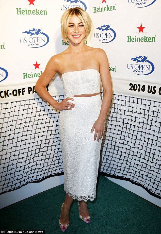 White hot: Julianne Hough made an impression at the US Open Kick-Off Party in New York Thursday night