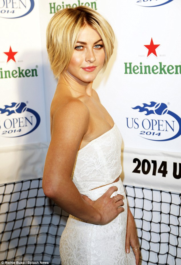 Double act: The Safe Haven actress radiated in a long high waisted lace skirt with a cropped strapless top in matching lace