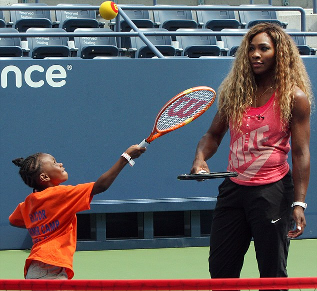 An ace teacher: Serena had also passed on some secrets to youngsters during a tennis clinic