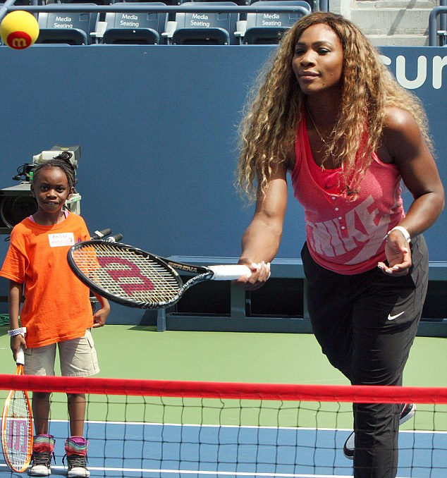 She's a smasher: Serena looked lovely in her training gear as she put her students through their paces