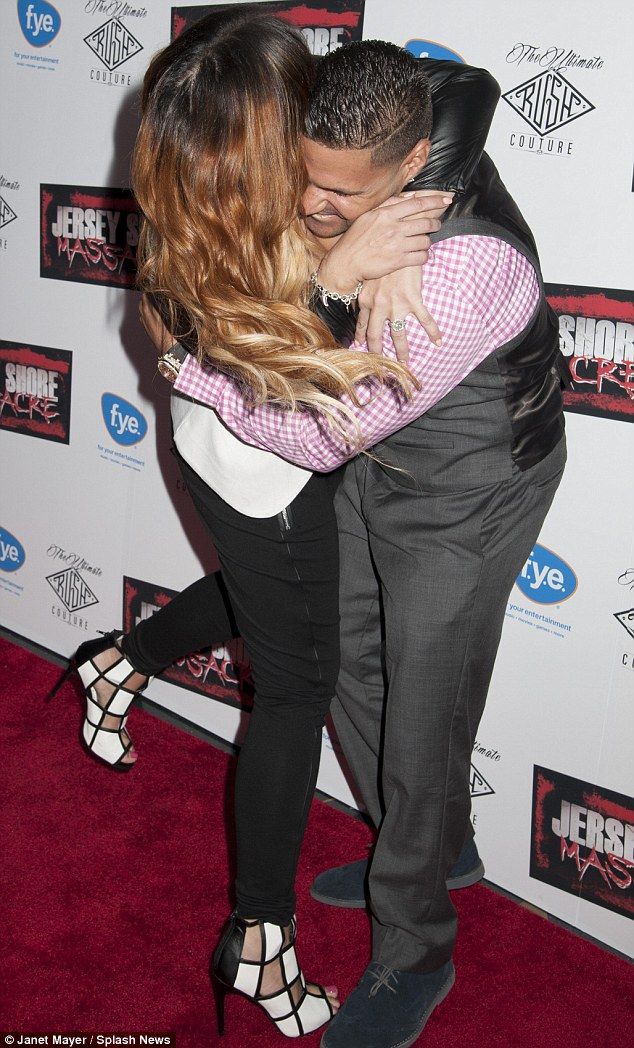 Jersey hug: Jenni and former costar Ronnie Ortiz-Magro reunited at the New York premiere for Jersey Shore Massacre in August