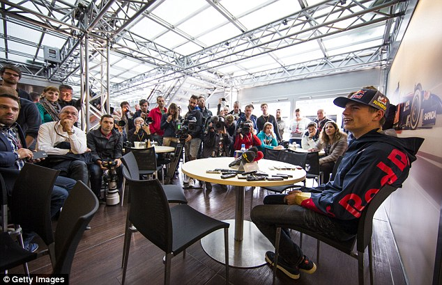 Centre of attention: Verstappen was composed during his first press conference at Spa in Belgium this week after being announced as Toro Rosso's new driver