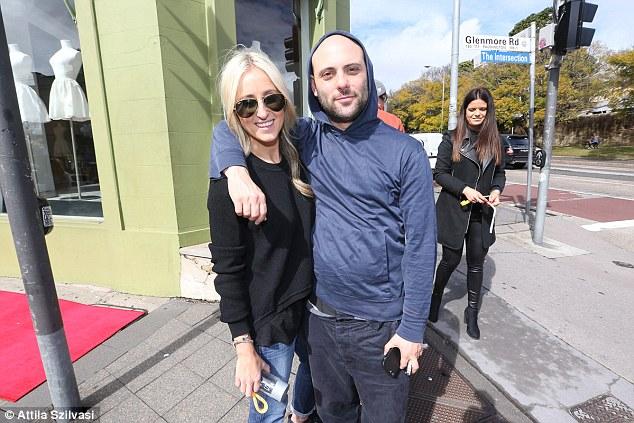 Friends: Posing with fashion designer Josh Goot the author kept cool in dark sunglasses