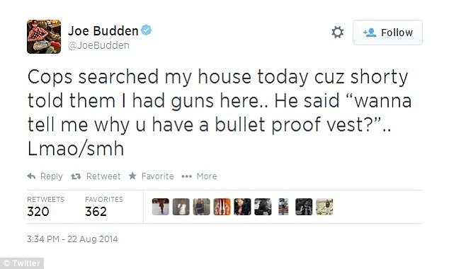 Law and order: Budden revealed that police acting on a tip from his former lover searched his home looking for weapons