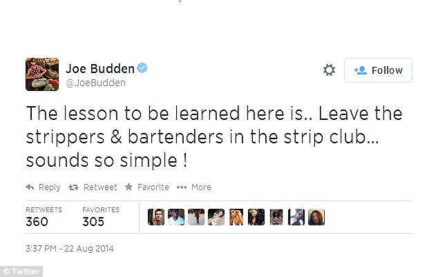 Flippant: Budden sounded dismissive in some of his tweets, including this one alluding to his ex-girlfriend's profession