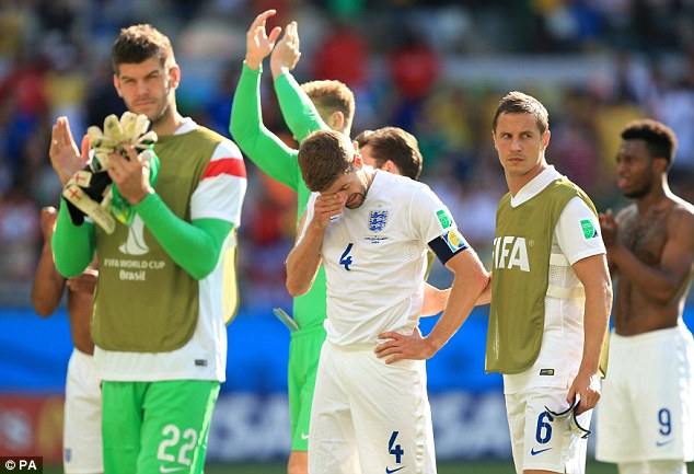 Tearful goodbye: Gerrard (centre) was emotional after his last match for England at the World Cup in Brazil