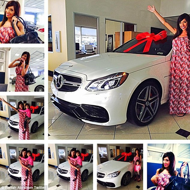 Splashing the cash: Farrah Abraham bought herself a $100,000 car on Thursday and shared a Twitter collage in celebration