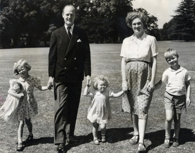 Past lives: Victor and Rosemary pose for a happy family snap with John, now the 11th Earl, and two of their daughters, none of whom know Robert are about to go public with his story of the abuse
