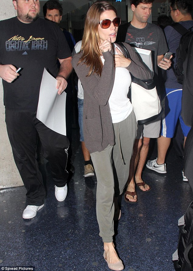 Home sweet home: The star was just returning from a trip to New York City where she attended the US Open Kick-Off party