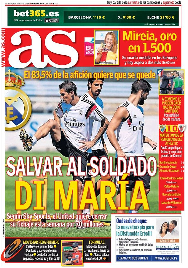 Public demand: Real Madrid fans do not want to wave goodbye to Argentina's Angel Di Maria