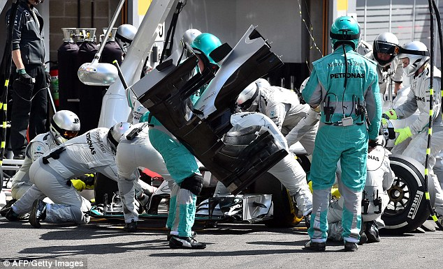 Change: Rosberg didn't escape damage and had to have his right front-wing endplate replaced in the pits