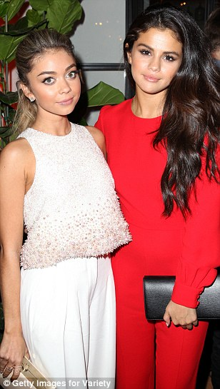 Gal pals: Hyland chatted up Selena Gomez at the Variety and Women in Film Emmy Nominee Celebration at Fig & Olive in West Hollywood, California