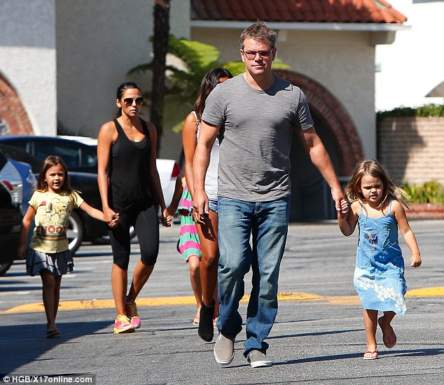 Family man! Matt Damon spends quality time with his wife Luciana and children Stella, Gia, Isabella and Alexia on Sunday in Brentwood, California