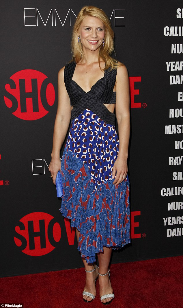 Leading the way: Homeland star Claire Danes led the glamour in a striking printed dress with bandage style straps at the Emmy Eve party in West Hollywood on Sunday evening