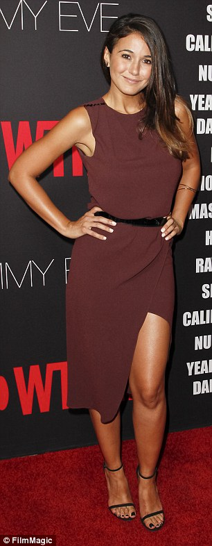 Thigh-catching: Emmanuelle Chriqui opted for a fetching maroon evening dress that showed off her nicely toned left leg