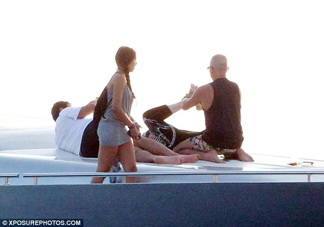 We are family: Madonna's 17-year-old daughter, Lourdes Leon, was also seen lounging on the luxury vessel