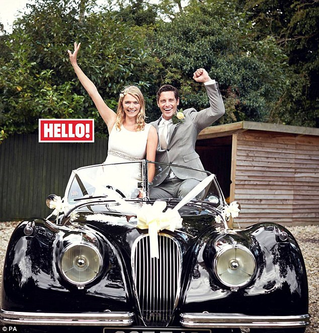 Big day:Model Jodie Kidd tied the knot with her ex-soldier lover, David Blakeley in the Holy Trinity church in Plaistow, West Sussex, on Saturday - they drove to the receptionin a classic 1953 XK120 Jaguar Betsey, which the racers drove to victory in this year's Mille Miglia road race in Italy