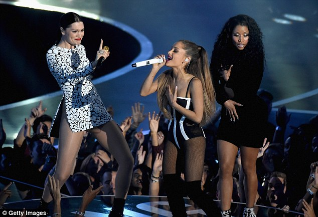 Girl power: Jessie got caught in the moment as Ariana burst out her verses in the new track