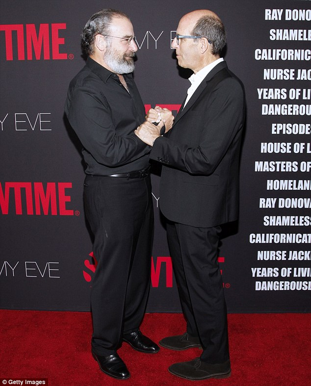 Pleased to meet you: Homeland actor Mandy Patinkin is greeted by Showtime Networks Chairman and CEO Matthew C. Blank