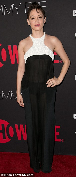 Charmed I'm sure: Rose McGowan caught the eye in a bold monochromatic halterneck