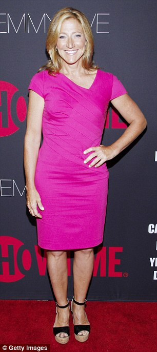Strike a pose: Edie Falco attends a photocall shortly after arriving at Sunset Towers on Sunday evening