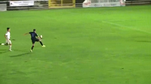 Bearing down on goal:Demetrio Steffe was played through by one of his Inter Milan team-mates