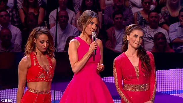 Saved: Despite her impressive gymnast physique, pressure got the better of Amelle on Saturday night's show