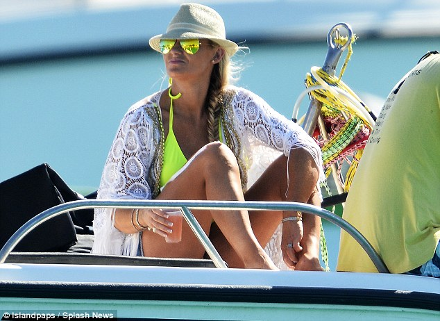 Back again:The family were seen soaking up the rays in April this year, jet skiing, sun bathing and enjoying afternoon stints on a yacht with friends