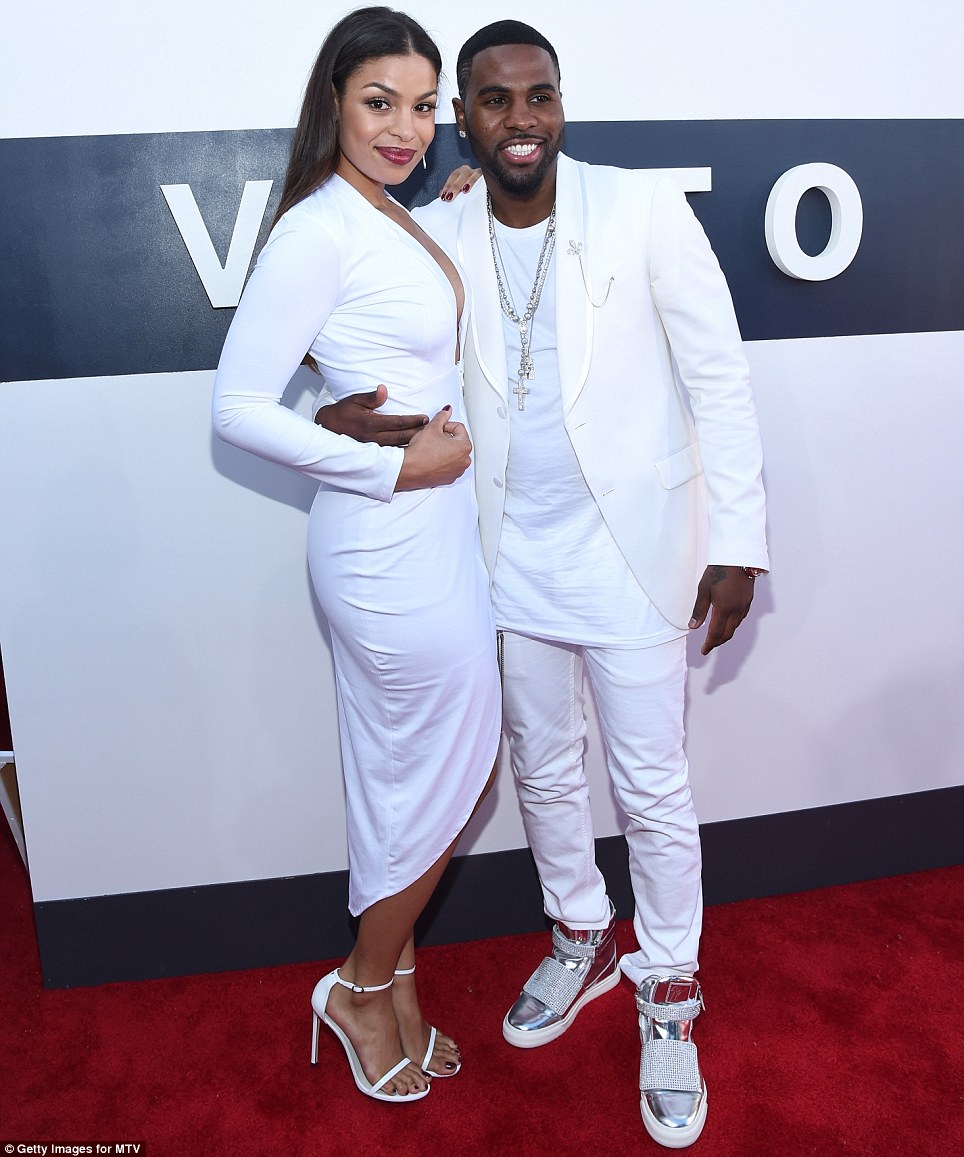 They think alike: Jordin Sparks and her guy Jason Derulo were a bright match in snow white outfits