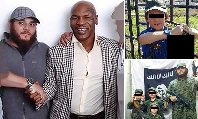 Khaled Sharrouf has become the face of home-grown terrorism. Here he's seen here with former heavyweight boxing champion Mike Tyson (left), and he reportedly (top right) posted this image of a young boy, believed to be his son, holding a decapitated head. The Prime Minister's new measures will target 'home-grown terrorism' at a local community level
