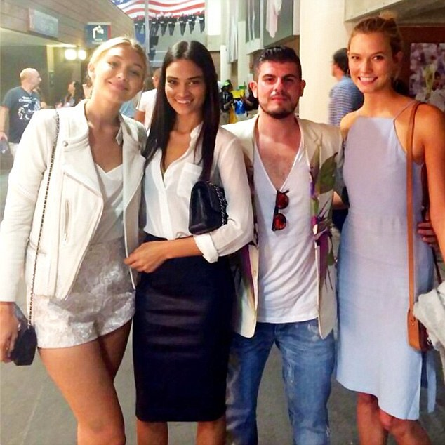 Lucky man: Mizrahi posted some Instagram snaps from the event as he rubber shoulders with beauties Gigi Hadid, Shaik and Karlie Kloss
