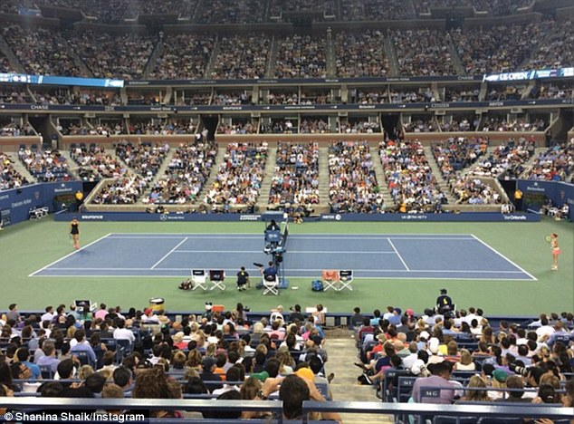 Let's play: Victoria's Secret star Shanina shared a shot of the tennis court at Arthur Ashe Stadium