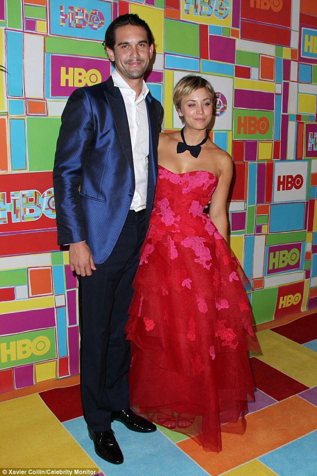 Clothes encounter: Kaley showed off her playful side as she donned her husband's bow tie at the bash