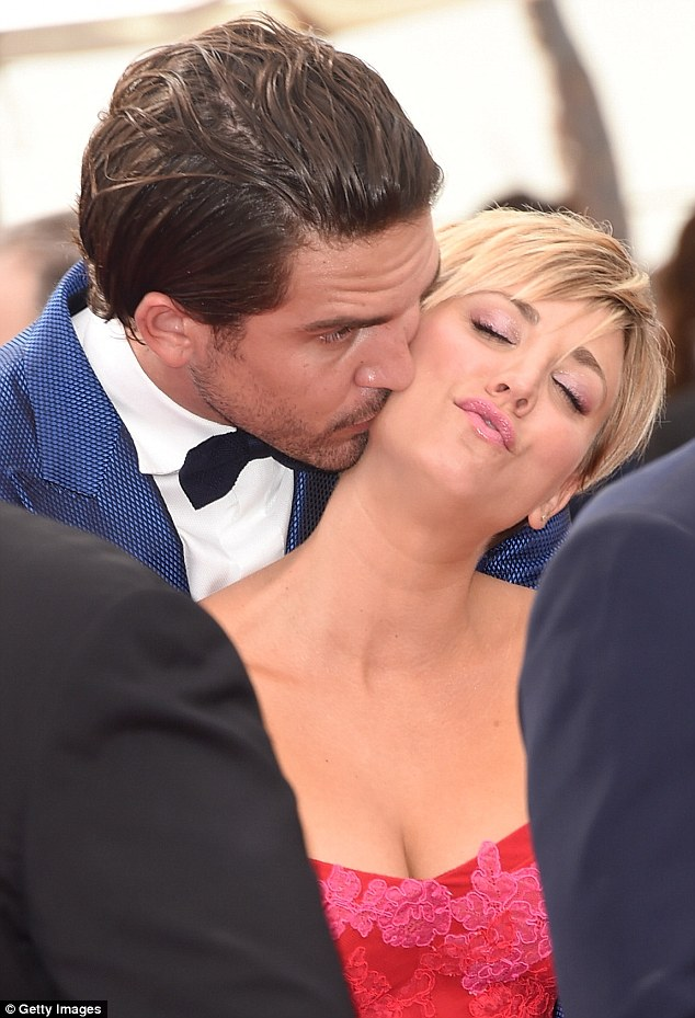 Affection: Tennis ace Ryan was also seen nuzzling his actress wife as they entered the star-studded ceremony